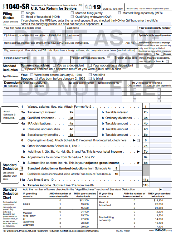 2020 Form 1040 Schedule 1.Draft Form 1040